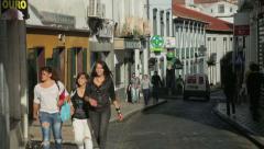 Girls talking, ponta delgada, san miguel island, azores Stock Footage