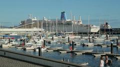 Cruise ship and marina, ponta delgada, san miguel island, azores Stock Footage