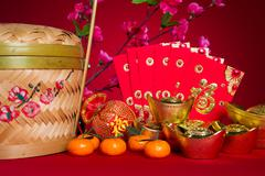 chinese new year decorations,generic chinese character symbolizes gong xi fa  - stock photo