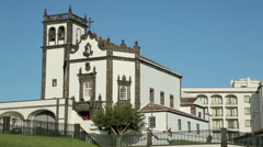 Church of san pedro, ponta delgada, san miguel island, azores Stock Footage
