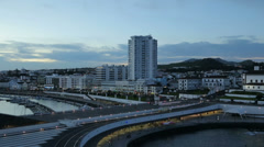 Harbour and waterfront at dusk, ponta delgada, san miguel island, azores Stock Footage