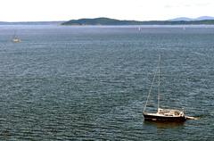 Sailboats in puget sound Stock Photos