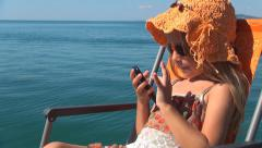 Child with Smartphone on Beach, Girl Playing on Phone Seashore, People, Children Stock Footage