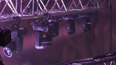 Lighting equipment, stage lights, spinning lights, concert, searchlights, frame Stock Footage