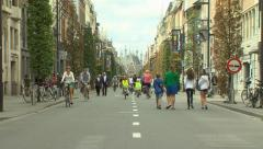People walking at main street Leuven Stock Footage