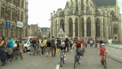 People walking in Leuven Stock Footage