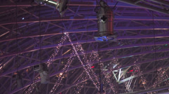 Mall glass ceiling, stage lights, led lights, searchlights, metal frame - stock footage