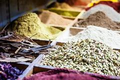 Spices on display in open market in israel. Stock Photos
