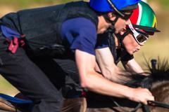 Jockey Focus Close Race Horses Stock Photos