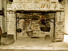south carolina slave cabin fireplace - stock photo