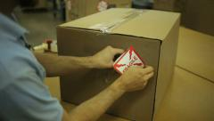 Fragile Label Box - stock footage