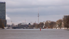 Time-lapse over the Spree in winter Berlin skyline Stock Footage