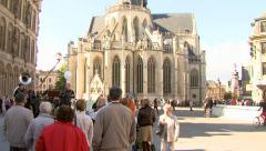 People watching an act in Leuven (Belgium) Stock Footage