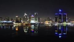 Detroit Skyline Night Time Lapse Stock Footage
