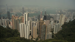 Hong Kong harbour and skyline from Victoria Peak - stock footage