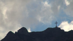 Cross, Mountains View Slopes, Clouds on Peaks, Landscapes, Rustic Trip, Pastoral Stock Footage