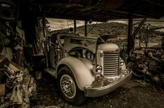 Truck jerome arizona ghost town mine and old cars Stock Photos