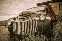 old truck jerome arizona ghost town mine and old cars - stock photo