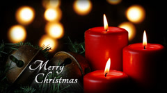 Red Candles Merry Christmas - stock footage