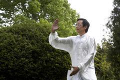 Man Practicing Martial Arts In Garden Stock Photos