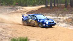 Stock Video Footage of Subaru Rally Car High Speed Turn