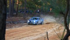 Subaru WRX Rally Car High Speed Turn in Sand Stock Footage