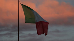 Italian flag at sunset 1 - stock footage