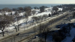 South view of Lake Shore Drive in Chicago in winter Stock Footage