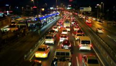 E5 Road a traffic nightmare. Night Timelapse Stock Footage