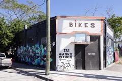 Hanks Bike shot with art murals on the buildings walls Stock Photos