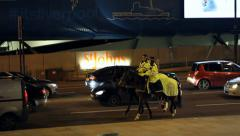 Police Horses at Liverpool City Centre Stock Footage