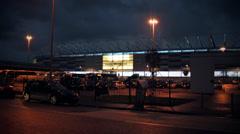 Cardiff City Football Stadium, Night Exterior Stock Footage