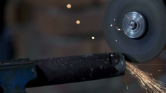 Sharpening the end of the metal tube Stock Footage