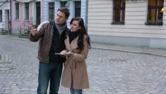 tourists with city map arguing over direction - stock footage