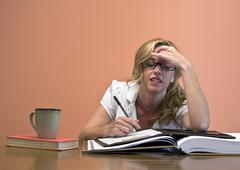 Beautiful Woman Stressed - stock photo
