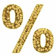 Percent sign composed of golden stars isolated on white Stock Illustration