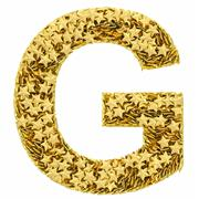 Letter g composed of golden stars isolated on white Stock Illustration