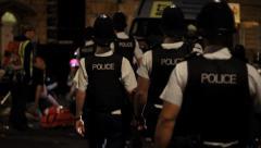 Police Walk to Crime Scene - Follow shot 02 Stock Footage