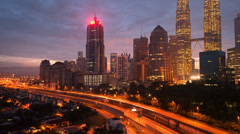Petronas Twin Towers, Malaysia at Sunrise Time Lapse (720p) Stock Footage