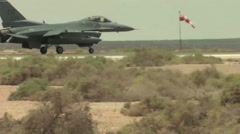 F-16 Falcon landing during Exercise Eager Lion Falcon Air Meet 2013 - stock footage