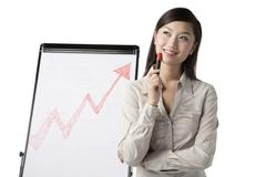Stock Photo of Businesswoman standing by whiteboard