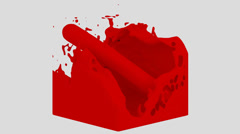Fluid Cube - Red (HD+Alpha) Stock Footage