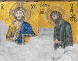 Stock Photo of mosaic in hagia sophia showing the judgment day with jesus christ to the left