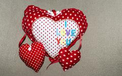 hand made hart shape with i love you text - stock photo