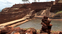 Ruins of the upper Sigiriya palace at the top of the mount. Sri Lanka. Stock Footage