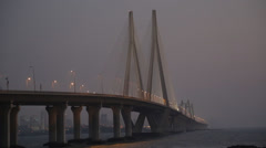 Bandra Worli Sea Link at Night Stock Footage