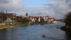 Ulm and Danube river Stock Footage