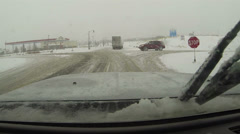 Winter blizzard snow storm driving to gas station POV HD 0202 Stock Footage