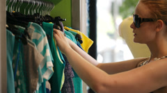 Young woman shopping. Stock Footage