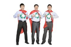 Office recycling superheroes - stock photo